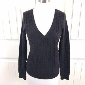 Aqua Dark Brown Cable Knit V-Neck Cashmere Sweater